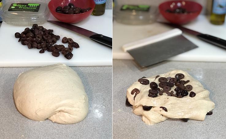 Pan con aceitunas de kalamata y aceite de romero