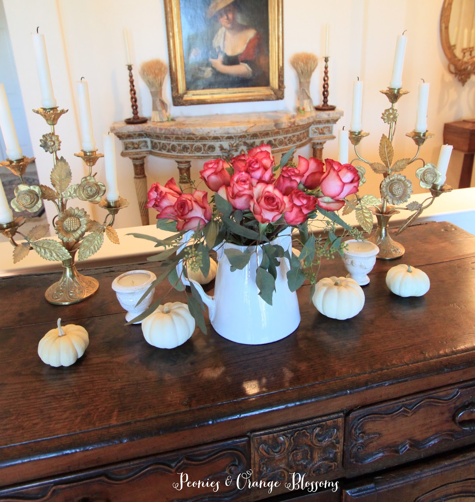 French Country Fall Decor ideas and How to Create a French Country Vignette for the Holidays in 5 minutes!