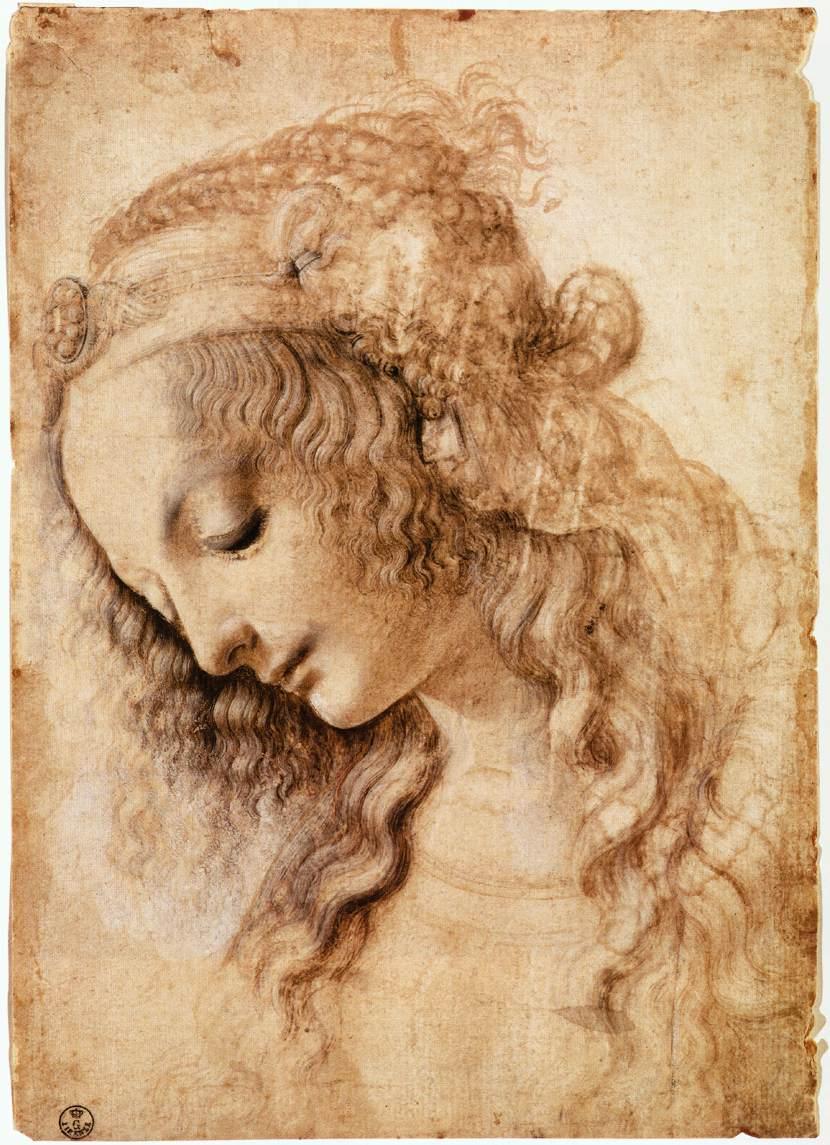 Cabeza de mujer. Leonardo da Vinci. 1470-1476, pluma, tinta y pigmento blanco sobre papel, 28,2x19,9 cm. Florencia, Gabinete de Diseños e Impresos de los Uffizi. Galería Uffizi.
