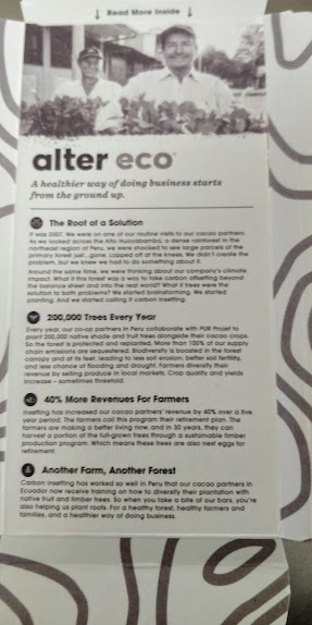 Alter Eco, dark chocolate bar, review, packaging, tree planting