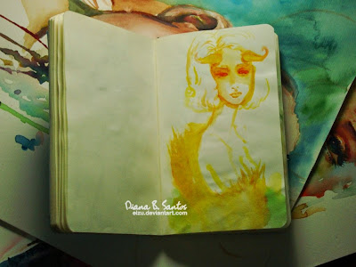 Diana B. Santos Sketch 2014 A fantasy innocent girl with horn