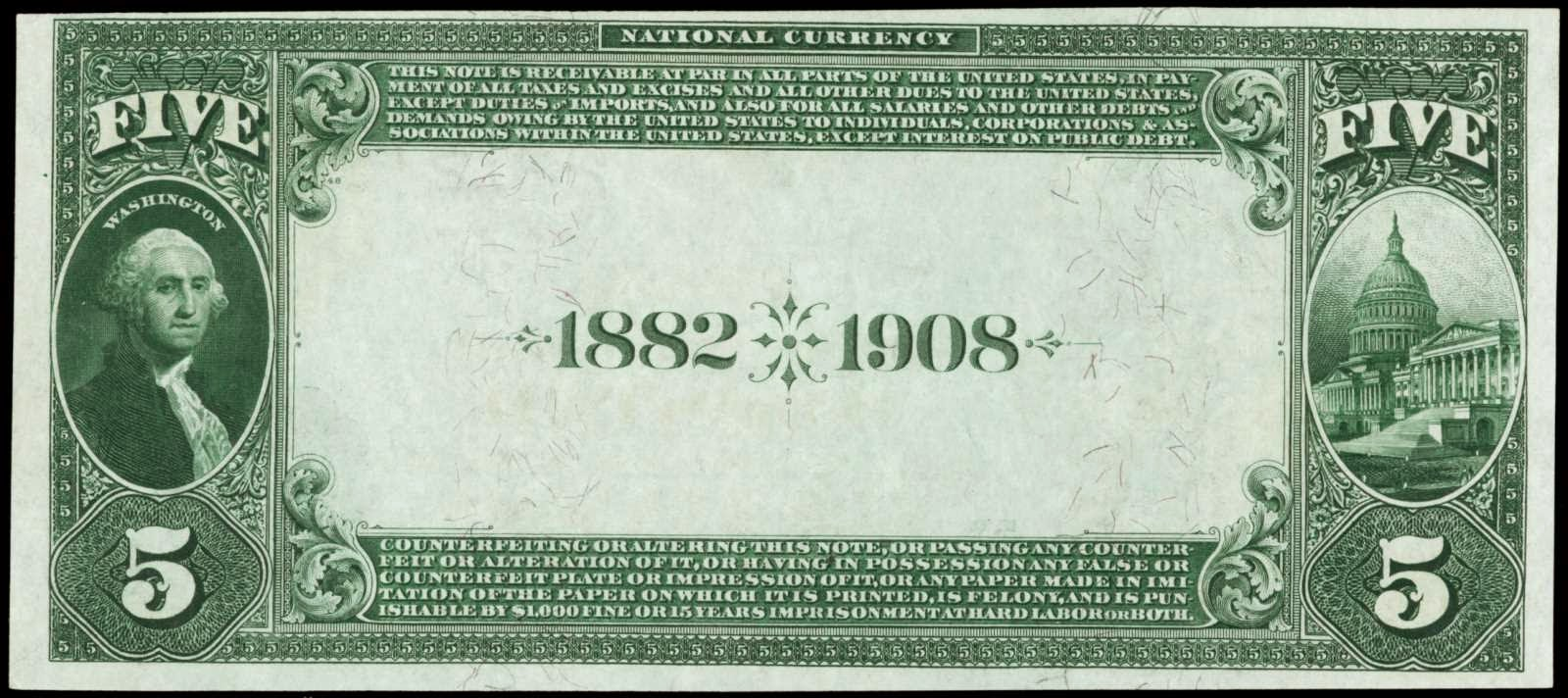 1882 Five Dollar National Currency Date Back