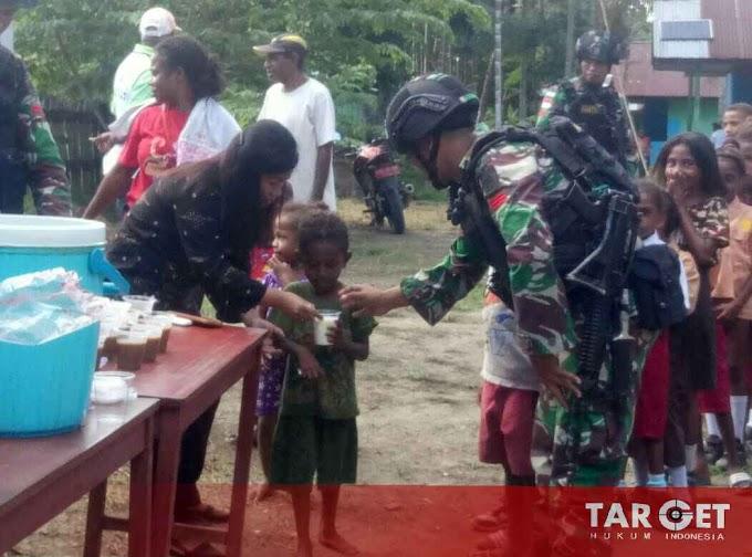 Yonif Satgas 755/Yalet/20/3 Kostrad Peduli Gizi dan Pendidikan di Papua