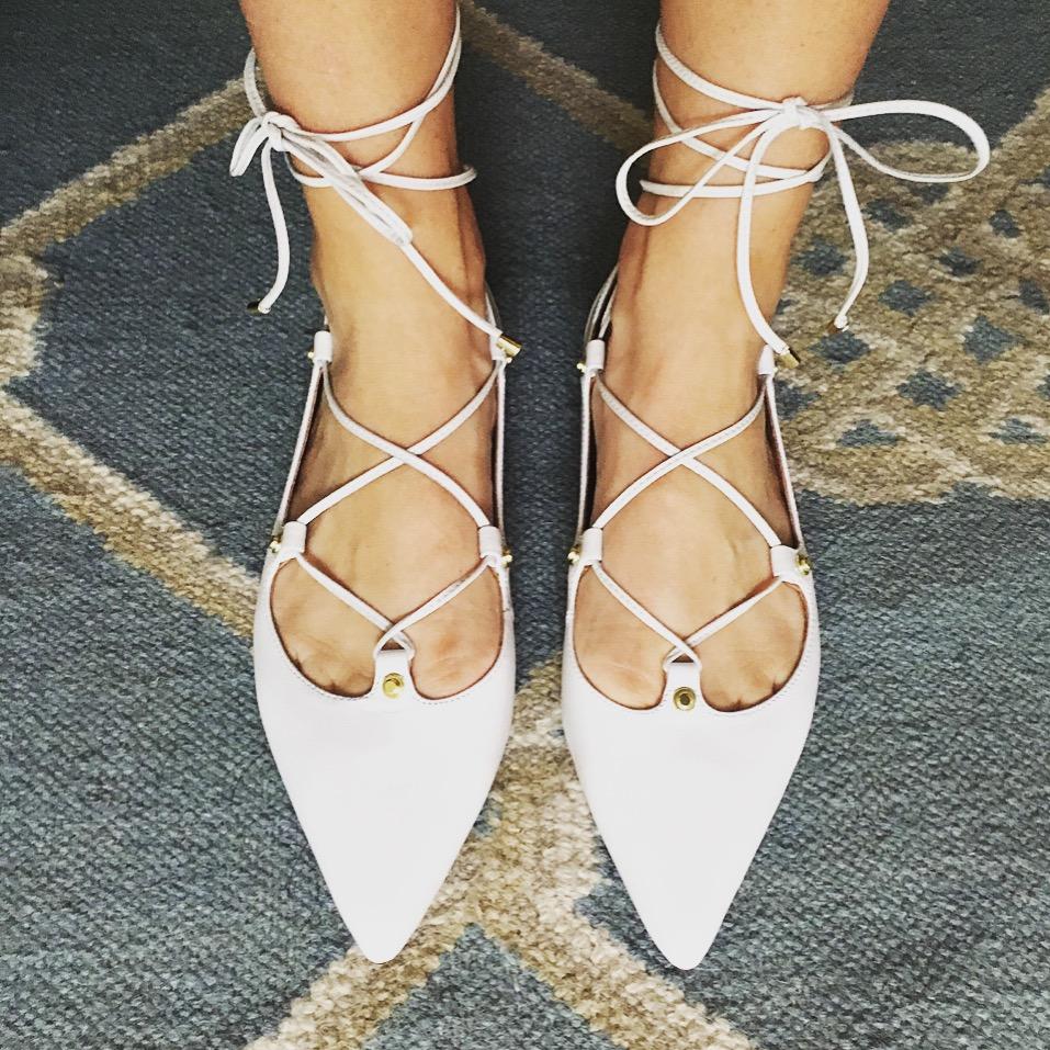 white lace up flats