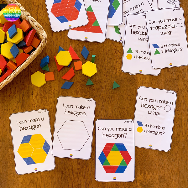 Grab these printable 2D Shape STEM challenge cards to add to your pattern blocks! Hands-on way for kindergarten aged children and first graders to learn how to make new shapes from other 2D shapes. These easy to prep printable 2D shape cards include three different sets of cards to challenge children while they learn about shapes and geometry in math while making differentiation easier than ever! #kindergartenmathcenters #stemcenters #firstgrademath #2dshapes #patternblockactivities