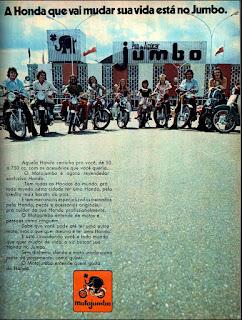 propaganda MotoJumbo - Supermercado Pão de Açucar Jumbo - 1973, Moto Honda anos 70, revendedor Honda década de 70, Oswaldo Hernandez,