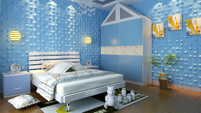 bedroom wall art decor with 3d panels in colored theme
