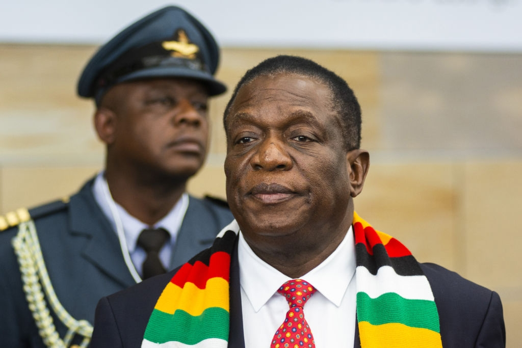 Emmerson Mnangagwa, Zimbabwe's president, arrives for a Bloomberg Television interview on the opening day of the 28th World Economic Forum (WEF) on Africa in Cape Town, South Africa, on Wednesday, Sept. 4, 2019. The World Economic Forum on Africa meeting runs from 4-6 September. Photographer: Waldo Swiegers/Bloomberg via Getty Images
