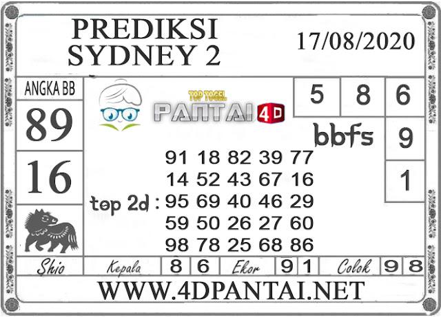 PREDIKSI TOGEL SYDNEY 2 PANTAI4D 17 AGUSTUS 2020