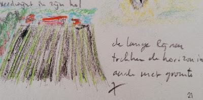 lijnen naar de horizon, tekening en haiku