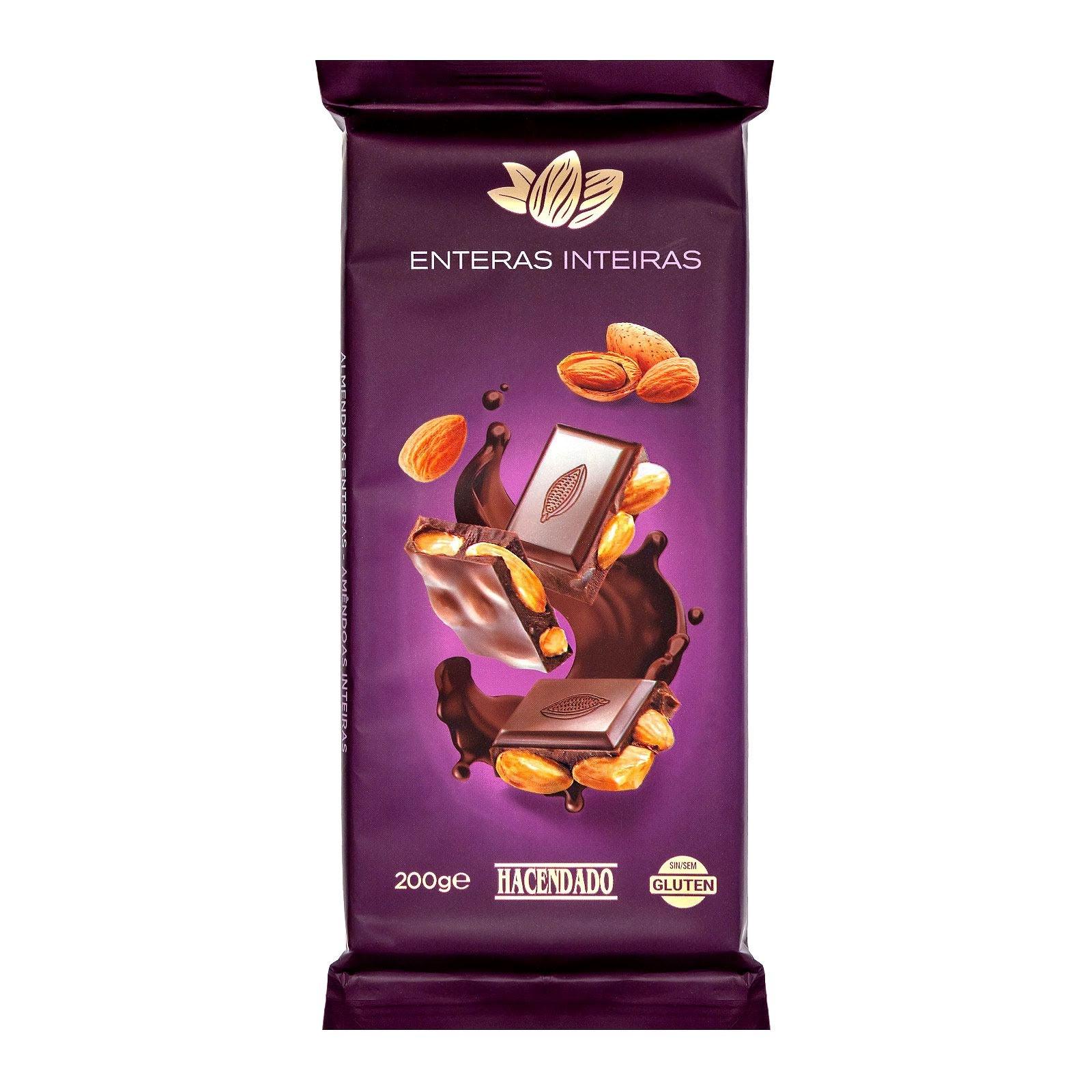 Chocolate negro con almendras enteras Hacendado