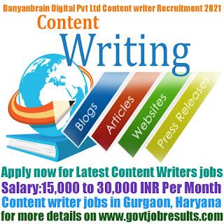 Banyanbrain Digital Pvt Ltd Content Writer Recruitment 2021-22
