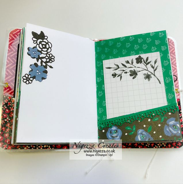 Mini Traveler's Notebook Using Stampin' Up! Flower & Field DSP