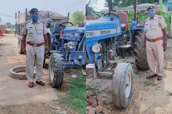 faridabad-tigaon-thana-police-caught-2-tractor-reti-khana-mafia