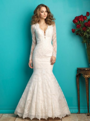This Mermaid Style Dress Would Definitely Compliment My Current Curvy Figure The Lace Sleeves And Subtle Low Cut Neckline Is Sophisticated But Still Sexy