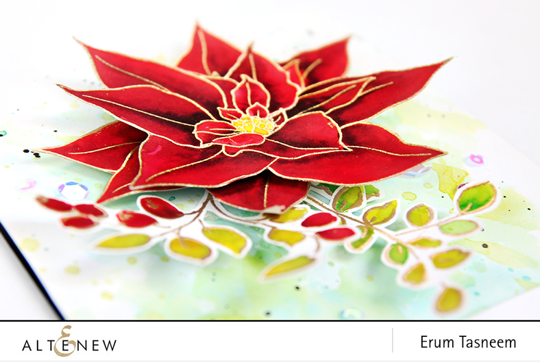 Altenew Build-A-Flower Poinsettia and Golden Garden Stamp sets watercoloured using distress inks | Erum Tasneem | @pr0digy0