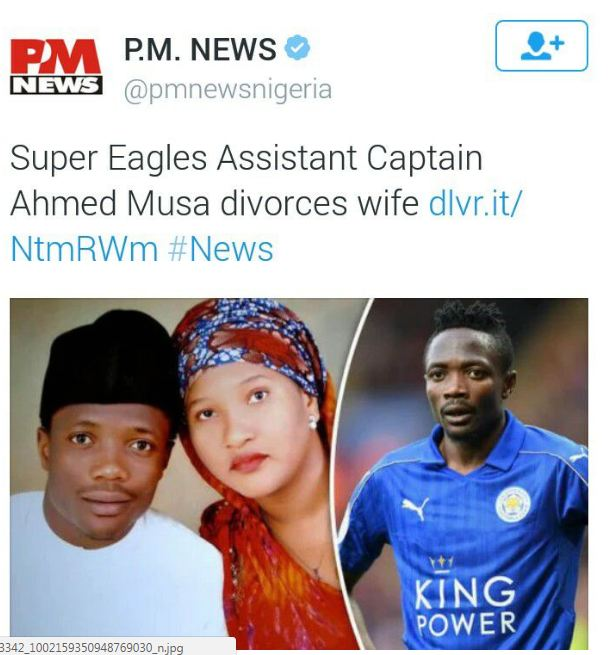 Ahmed Musa Divorces His Wife, Sends Her Back to Nigeria (See Picture Of His New Wife)