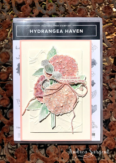 A card showcasing Petal Pink and using water-colouring featuring Stampin' Up!s Hydrangea Haven and Enjoy the Moment stamps.