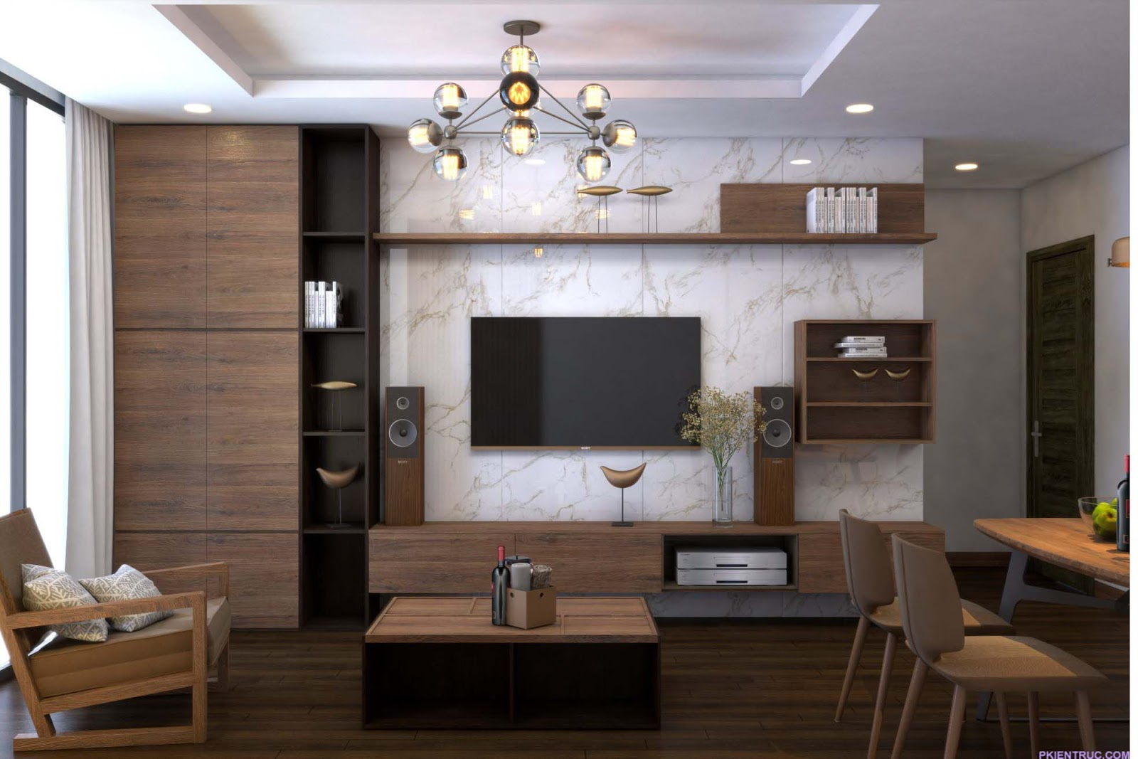 Phối cảnh render Nội thất phòng khách và bếp ăn căn hộ mẫu- ảnh 3
