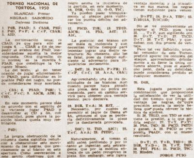 Recorte de la revista Destino sobre el Torneo Nacional de Ajedrez de Tortosa 1950