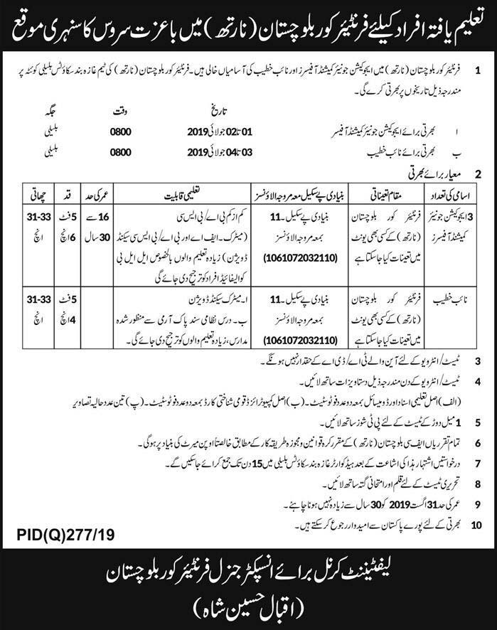 Jobs In Frontier Corps Balochistan 23 Jun 2019