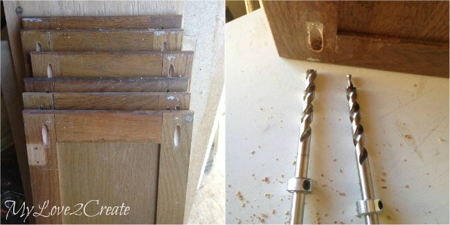 Pocket holes drilled old into cabinet doors