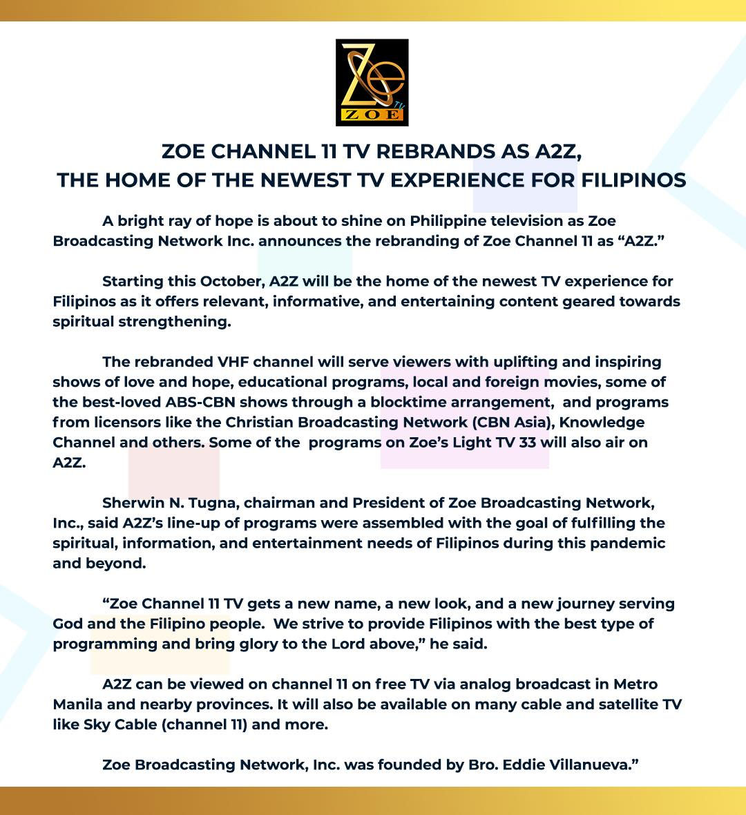 ABS-CBN shows to air on Zoe's new A2Z channel 11