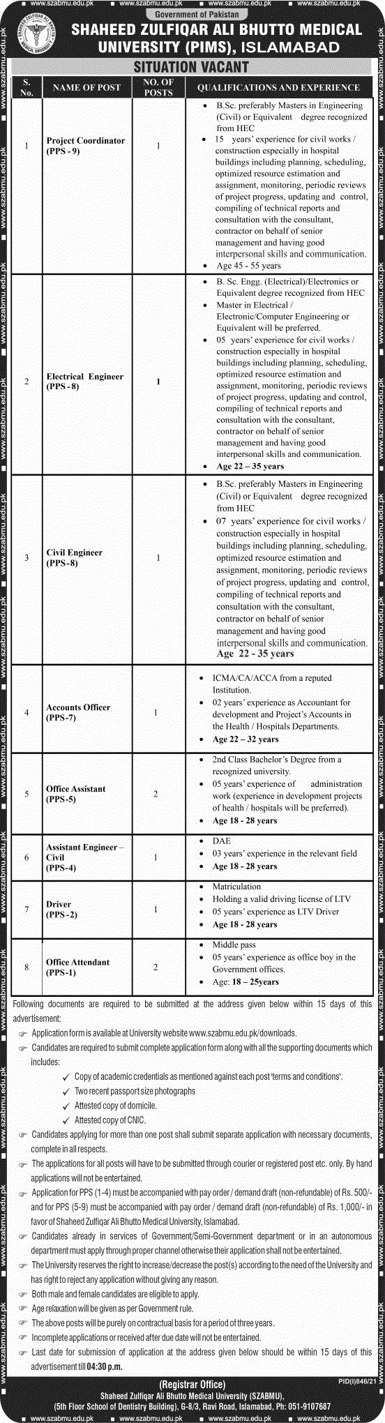 www.szabmu.edu.pk Jobs 2021 - SZABMU Shaheed Zulfiqar Ali Bhutto Medical University Jobs 2021 in Pakistan