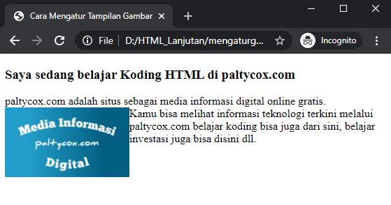 contoh cara mengatur tampilan gambar di html