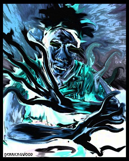blue man art alien dj smeared trippy