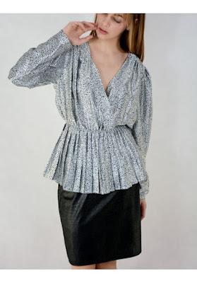wieczorowa retro bluzka plisowana baskinka trendy moda blog netstylistka