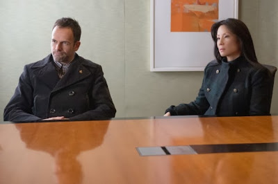 Jonny Lee Miller and Lucy Liu as Sherlock Holmes and Joan Watson in CBS Elementary Season 2 Episode 11 Internal Audit