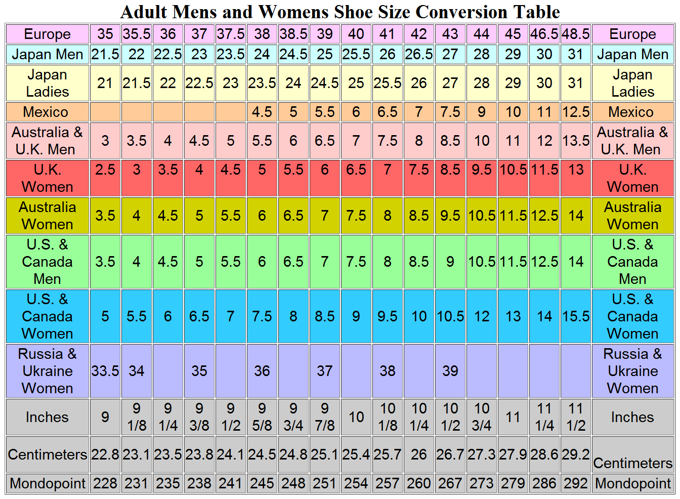 Adidas Size Conversion Table   Wallseat.co