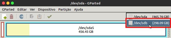 selecionar uniade de disco com o gparated no ubuntu
