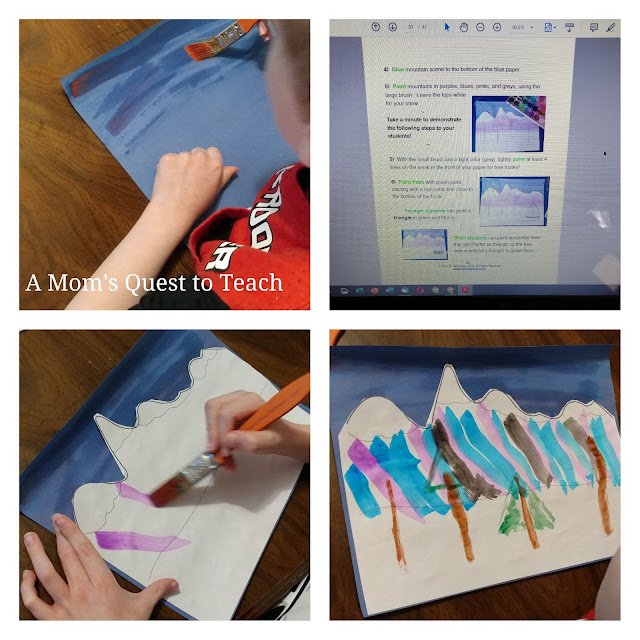 Painting mountains using water colors