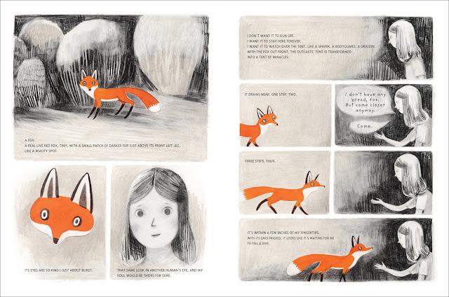 Preciosas ilustraciones del álbum ilustrado Jane el zorro y yo realizadas por Isabel Arsenault, la historia es de Fanny Britt
