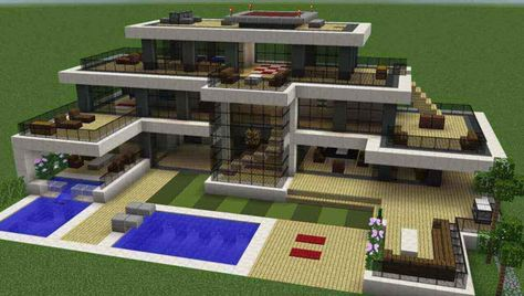 A big house design and idea built in minecraft with swimming pool and gardens around it