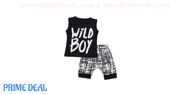50% OFF Baby Boys Clothes Wild Boy Letter Print T-Shirt Tops and Pants Outfits Set