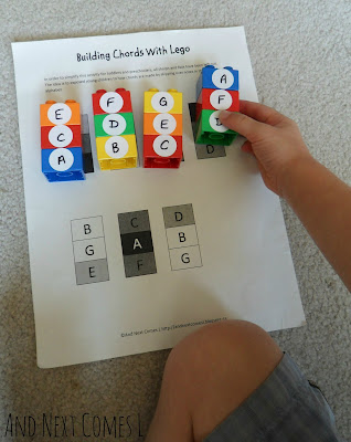 Music activity for kids: building chords with Lego - includes a free printable from And Next Comes L