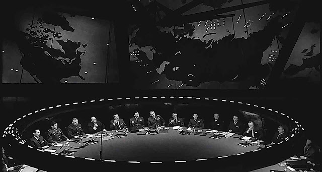 a photograph of the war room from the 1964 movie Dr. Strangelove