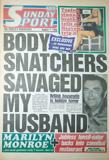 front page of the UK tabloid newspaper the Sunday Sport from 7 August 88
