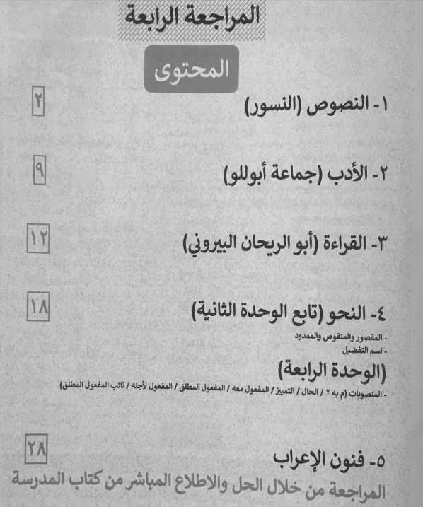 المراجعة الرابعة لغة عربية ثانوية عامة 2019 مراجعة الفريد للأستاذ فريد شوقي