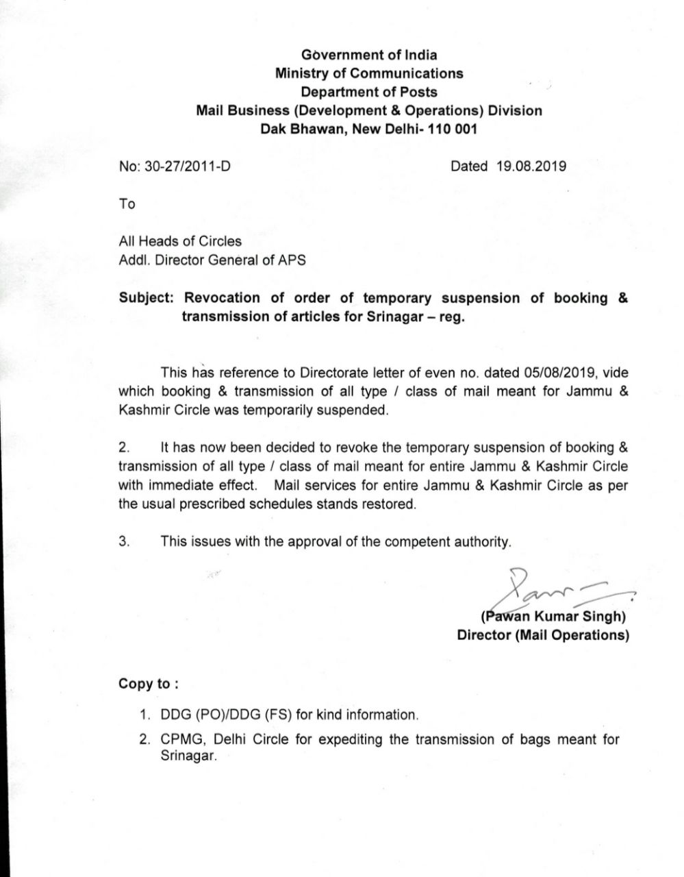 Revocation of order of temporary suspension of booking and transmission of articles for Srinagar