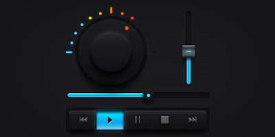 Dark Music UI Elements (PSD)