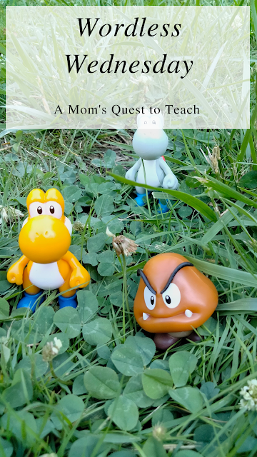 A Mom's Quest to Teach: Wordless Wednesday; Super Mario toys in grass