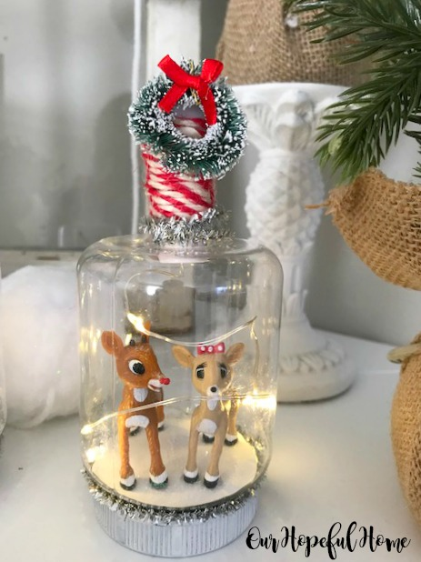 Rudolph Clarice figurine snow globe bottle lights DIY Christmas decor