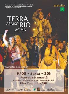 """Espetáculo """"Terra Abaixo, Rio Acima"""" será apresentado no Boqueirão Sul na sexta 09/08"""
