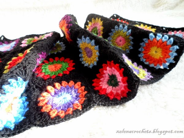 crocheted sunburst granny square blanket
