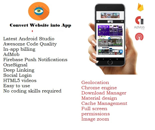 WebView App for Android with Push Notification, AdMob