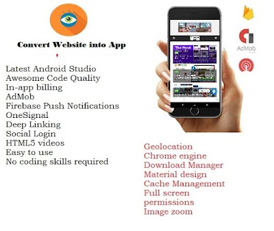 WebView App for Android with Push Notification, AdMob, | convert website into app